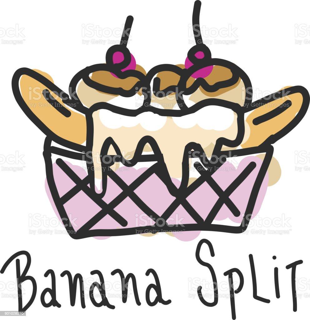 Hand drawn banana split dessert vector art illustration