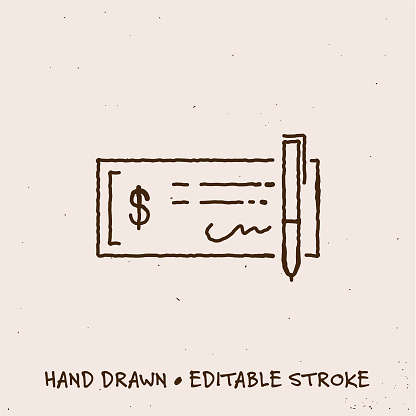Hand Drawn Bank Check Icon with Editable Stroke