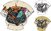 Hand drawn Mardi Gras Festival style banner presented in full color, two & single color.