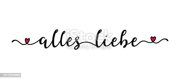 """istock Hand drawn  banner with """"Alles Liebe"""" quote in German. Translated """"All the best"""" Lettering, modern calligraphy 1312333995"""