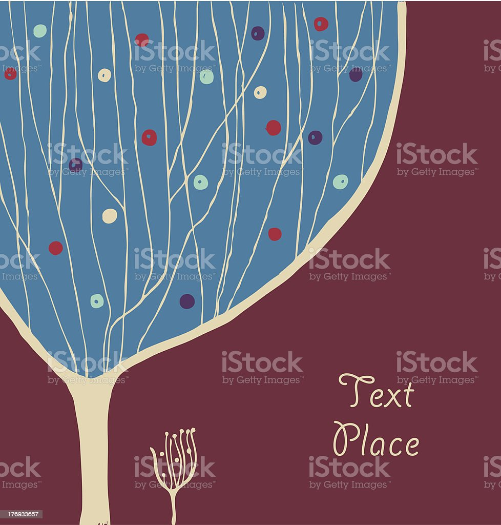 Hand drawn banner with decorative branches tree royalty-free stock vector art