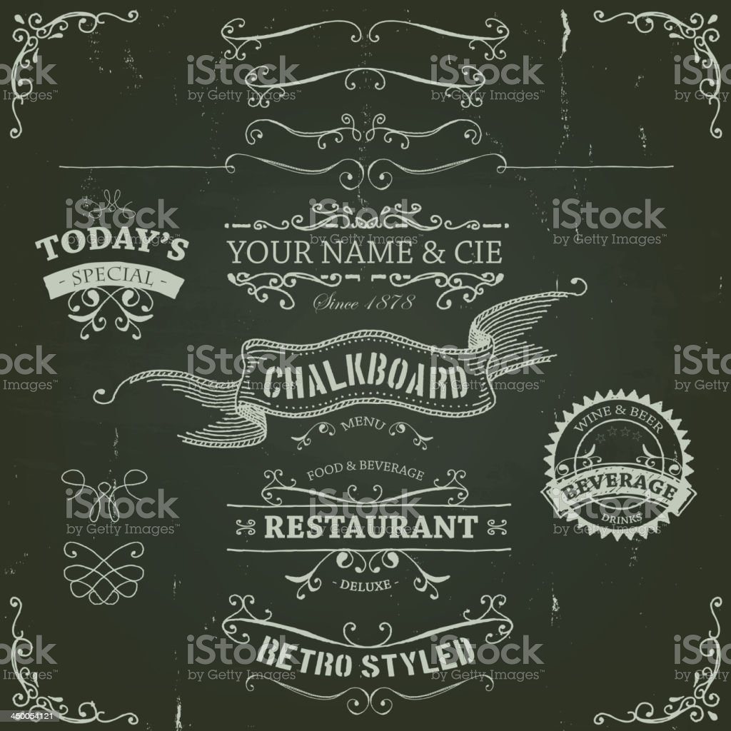 Hand Drawn Banners And Patterns On Chalkboard vector art illustration