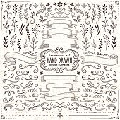 istock Hand Drawn Banners, Leaves,Flowers, Branches and Swirls 470514058