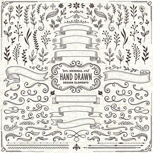ręcznie rysowane banery, liście, kwiaty, oddziałów i swirls - ozdobny stock illustrations