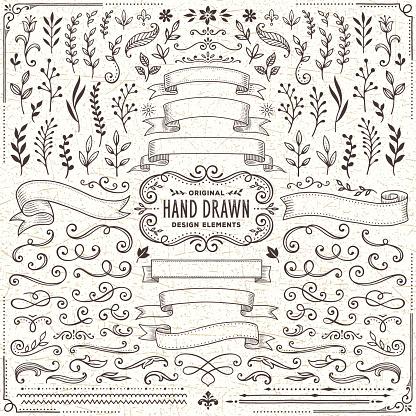 Руки Drawn Баннеры Листья Цветы Филиалы И Завитками — стоковая векторная графика и другие изображения на тему 2015