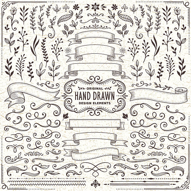 hand drawn banners, leaves,flowers, branches and swirls - dekoratif stock illustrations, clip art, cartoons, & icons