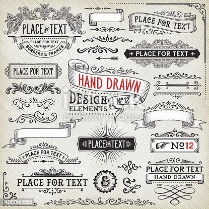 istock Hand Drawn Banners,Badges and Frames 466066888