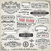 Hand drawn set of ornate badges,frames,banners and design elements on vintage textured background. EPS 10 file with transparencies.File is layered with global colors.More works like this linked below.
