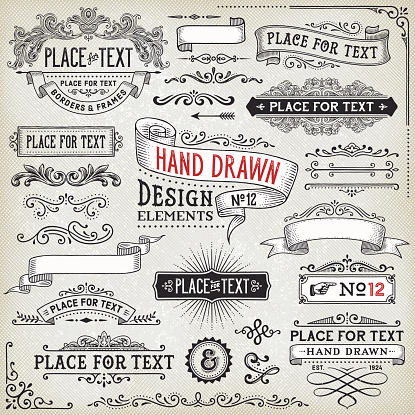 Hand Drawn Banners,Badges and Frames