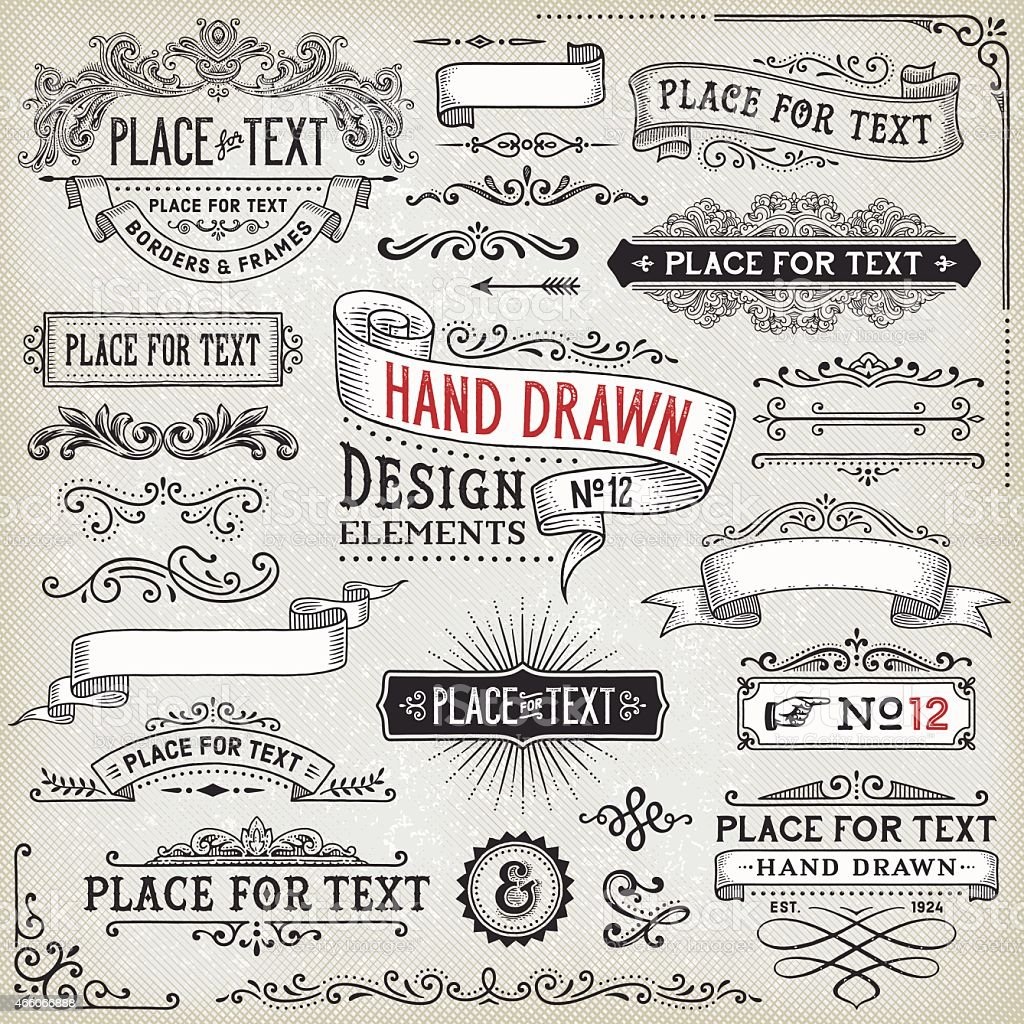 Hand Drawn Banners,Badges and Frames vector art illustration