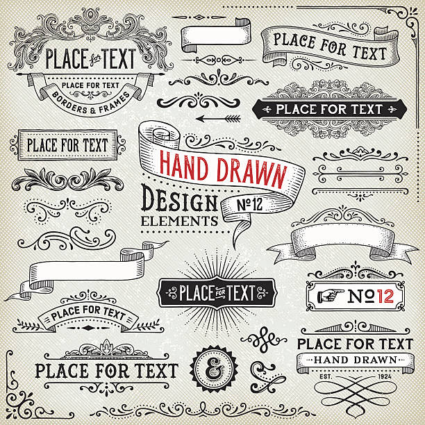 hand drawn banners,badges and frames - ribbon sewing item stock illustrations