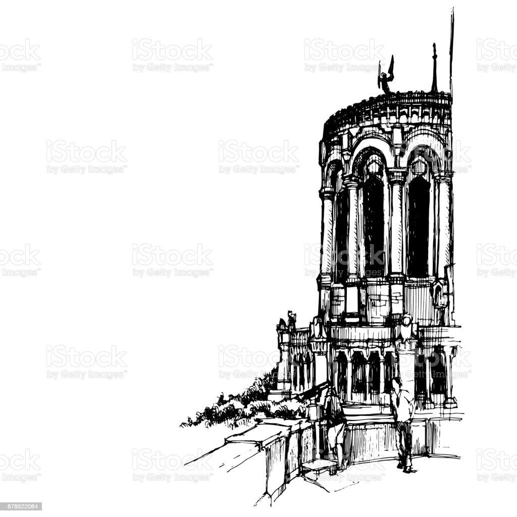 Hand drawn Basilica of Notre-Dame de Fourviere, minor basilica in Lyon urban sketch. Vector illustration.
