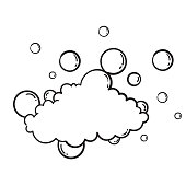 hand drawn Bath foam soap with bubbles isolated. shampoo and soap foam lather doodle style