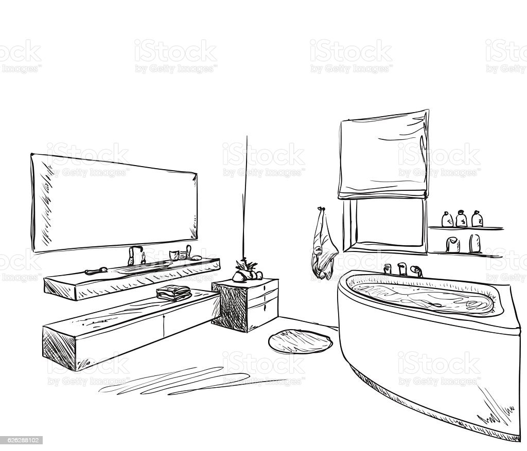 Hand Drawn Bathroom Furniture Sketch Stock Vector Art