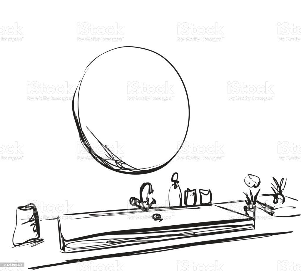 hand mirror sketch. Hand Drawn Bathroom Interior. Mirror, Washbasin And Tap Sketch Royalty-free Mirror P