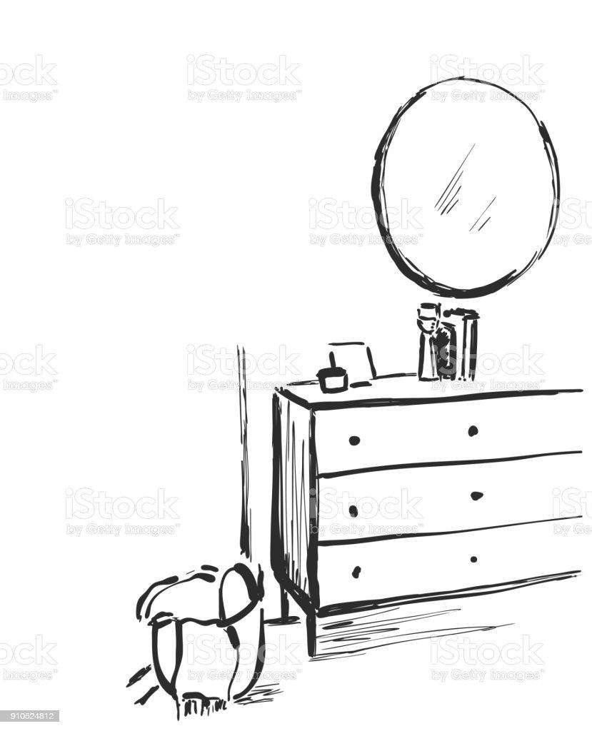 hand mirror sketch. Plain Mirror Hand Drawn Bathroom Interior Mirror Washbasin And Tap Sketch Royaltyfree  Hand For Mirror Sketch