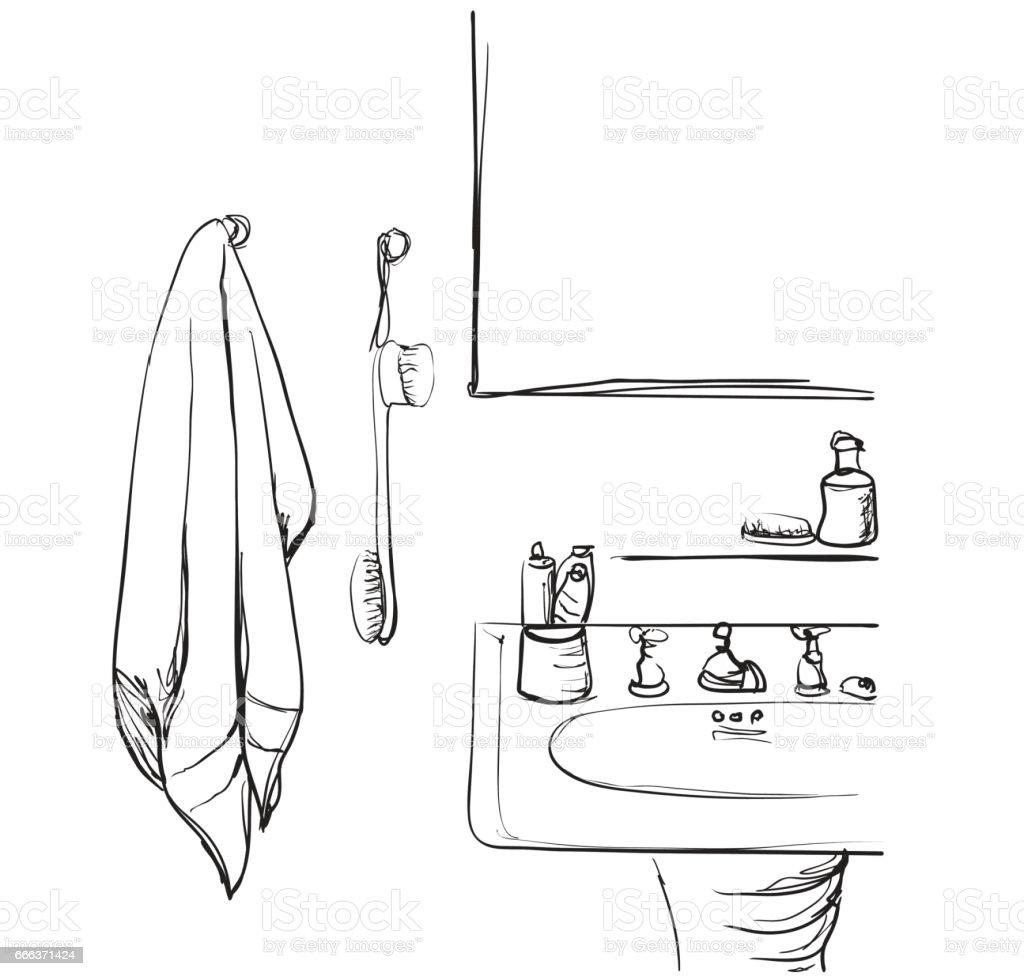 hand mirror sketch. Hand Drawn Bathroom. Washbasin And Mirror Sketch Royalty-free Bathroom T