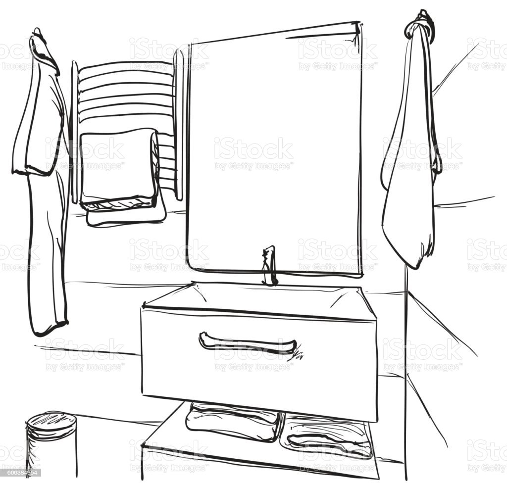 hand mirror sketch. Hand Drawn Bathroom. Washbasin And Mirror Sketch Royalty-free Bathroom