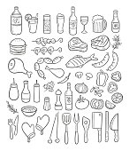 Collection of hand drawn BBQ party elements. Drinks, meat, grilled fish, vegetables, sausages, condiments and supplies. Vector illustration.