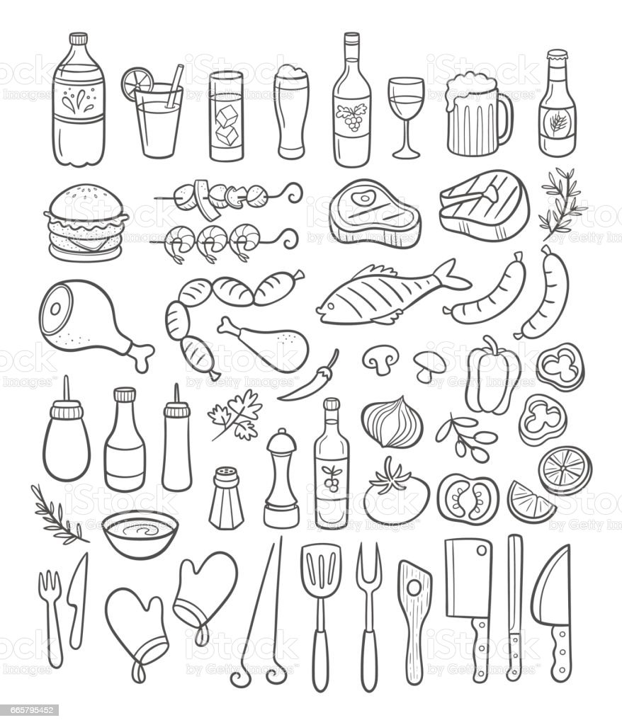 Main repris des éléments de partie de barbecue. Illustration vectorielle. - Illustration vectorielle