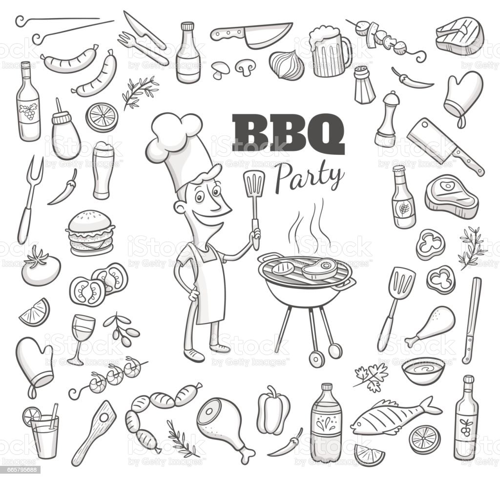 Hand drawn BBQ party elements. Vector illustration. vector art illustration