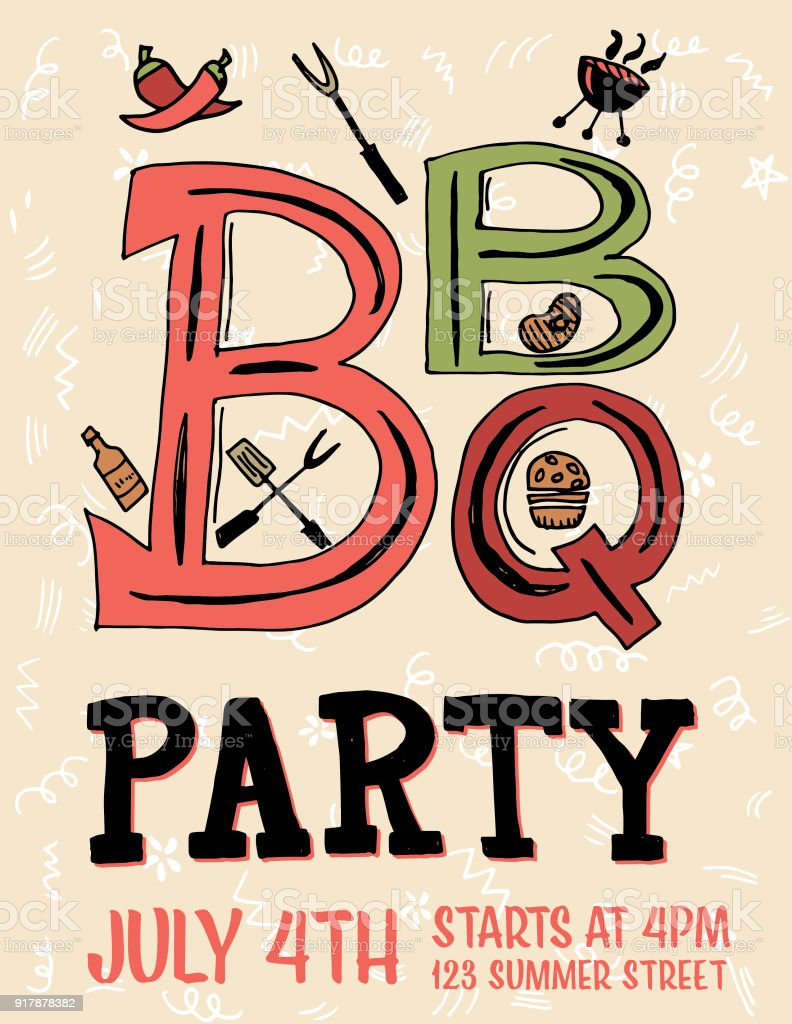 Hand drawn bbq party invitation and design elements stock vector art hand drawn bbq party invitation and design elements royalty free hand drawn bbq party invitation stopboris Gallery