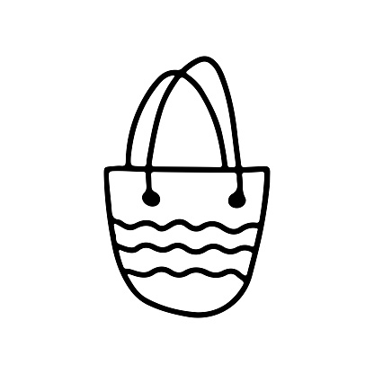 Hand drawn beach bag isolated on white background. Template icon. Vector outline illustration in doodle style.