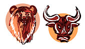 istock Hand drawn bear and bull heads in circles isolated on white background as a symbol of bullish and bearish market, eps10 vector illustration. 1286992953