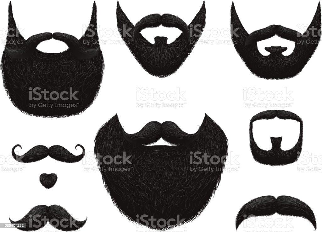 Mão desenhadas barbas e bigodes vector coleção - ilustração de arte em vetor