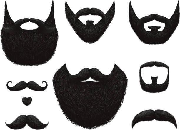 ilustrações, clipart, desenhos animados e ícones de mão desenhadas barbas e bigodes vector coleção - bigode