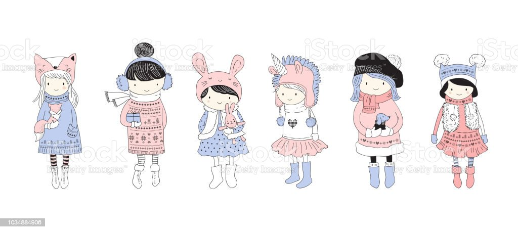 Hand Drawn Beautiful Cute Little Winter Girls Collection Merry