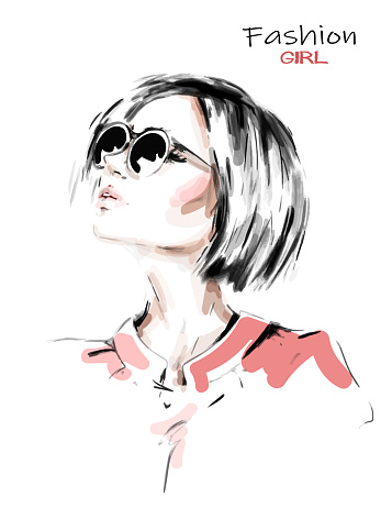 Hand drawn beautiful young woman in sunglasses. Stylish girl with blonde hair.