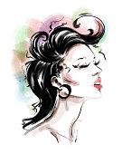 istock Hand drawn beautiful young woman with fashion colorful hairstyle. Stylish girl. Fashion woman lool. Female profle. 1282878844