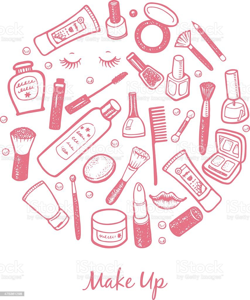 Hand drawn beauty and cosmetics items set. Vector background for your...