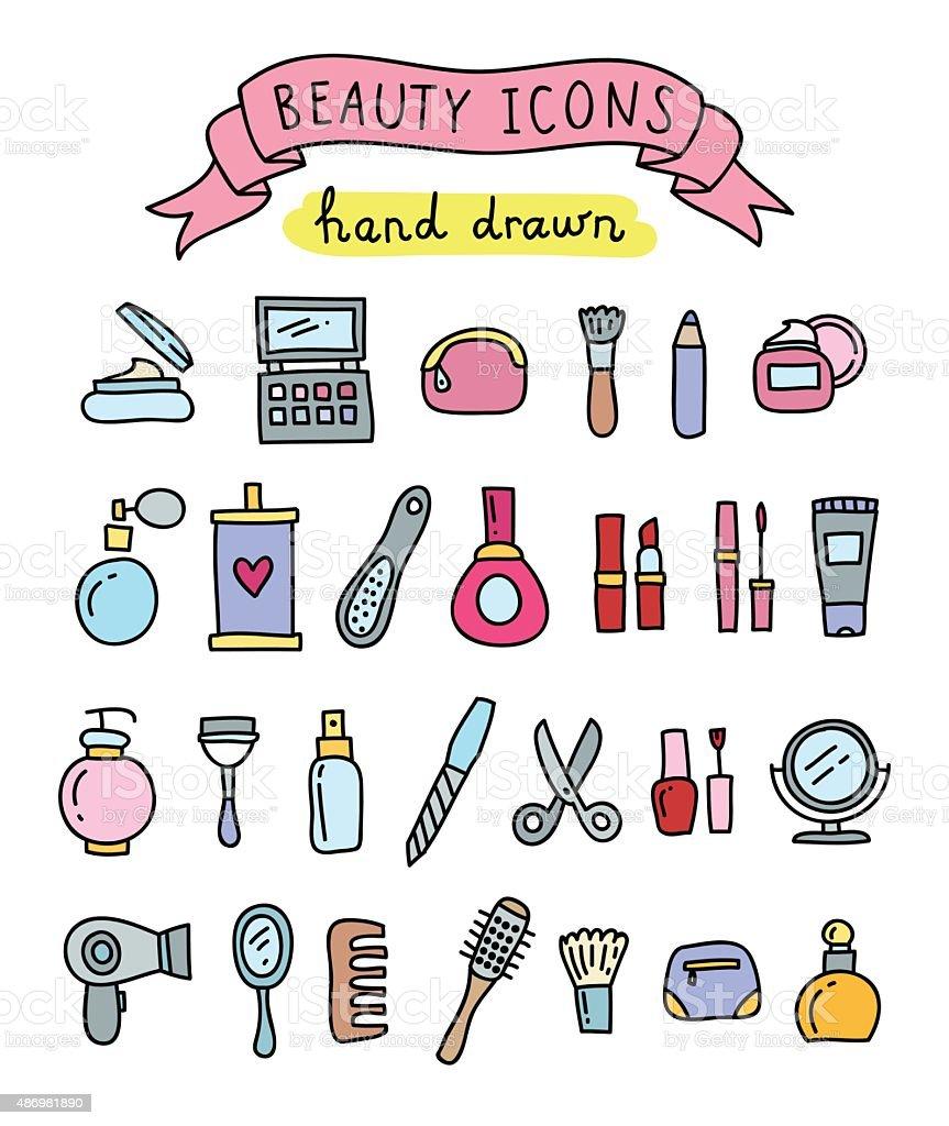 Hand drawn beauty icons vector art illustration