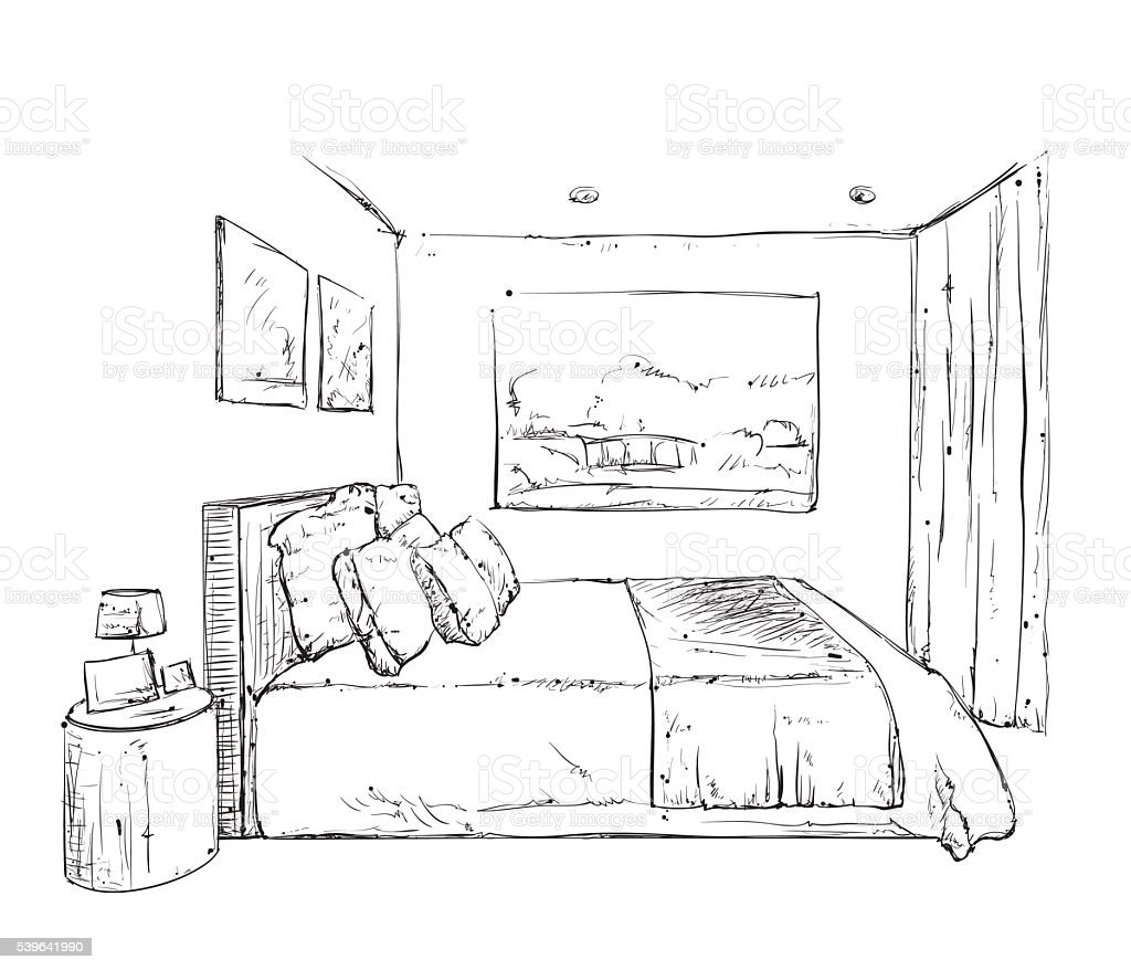Hand drawn bedroom interior sketch stock vector art more for Habitacion dibujo