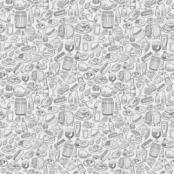 hand gezeichnet bier und essen, nahtlose hintergrund - lachskuchen stock-grafiken, -clipart, -cartoons und -symbole
