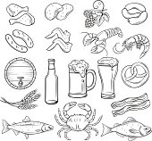 Vector hand drawn beer and snack icons set. Decorative retro style collection for pub market label.
