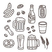 Set of beer related doodles. Hand drawn sketches. Isolated vector illustration.