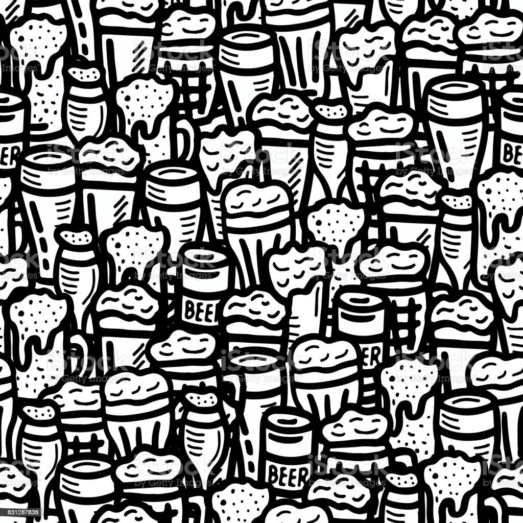 hand drawn beer seamless background vector art illustration