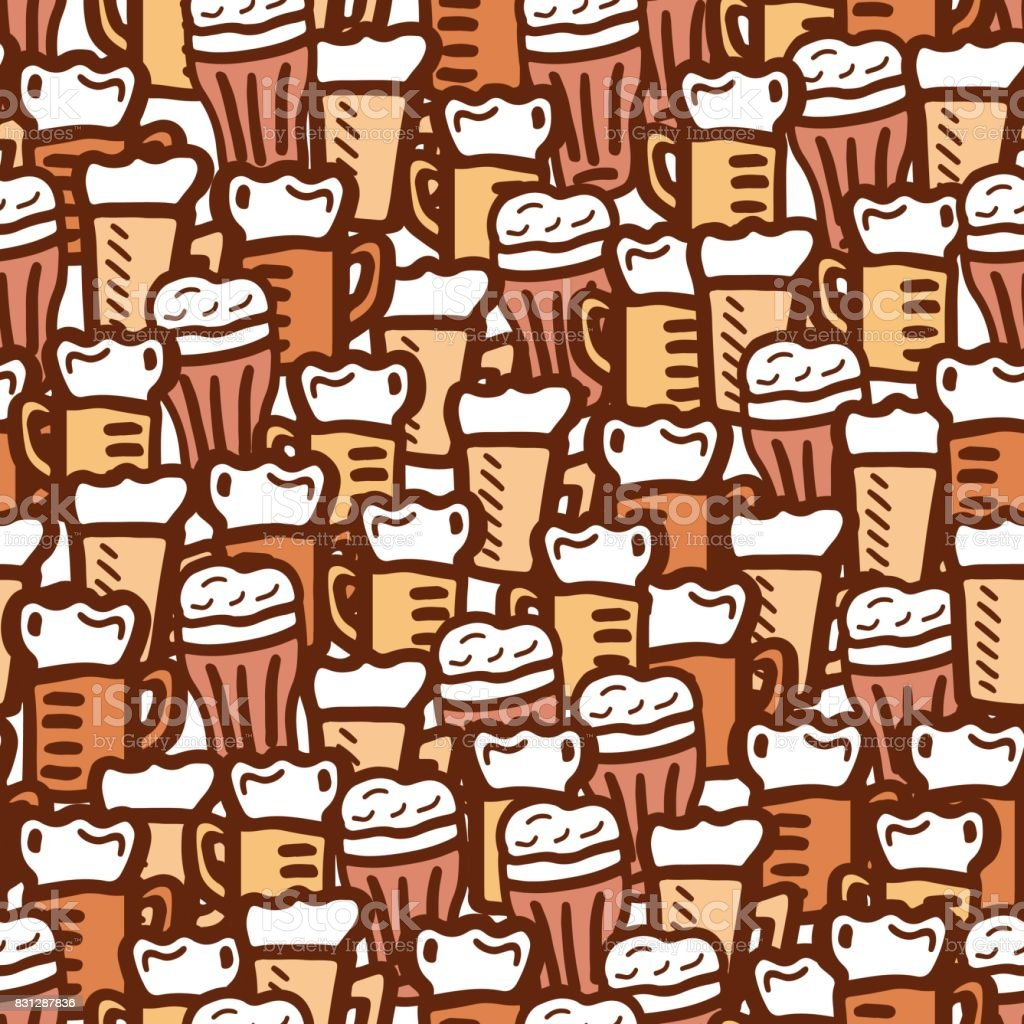 hand drawn beer seamless pattern vector art illustration