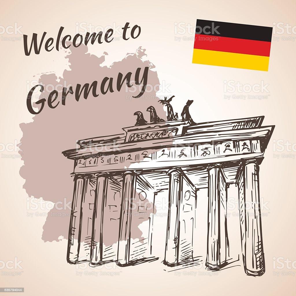 Handgezeichnet Berlin Brandenburg Tor. Isoliert – Vektorgrafik