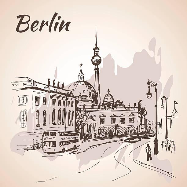bildbanksillustrationer, clip art samt tecknat material och ikoner med hand drawn berlin street with buses and berlin tv tower - berlin street