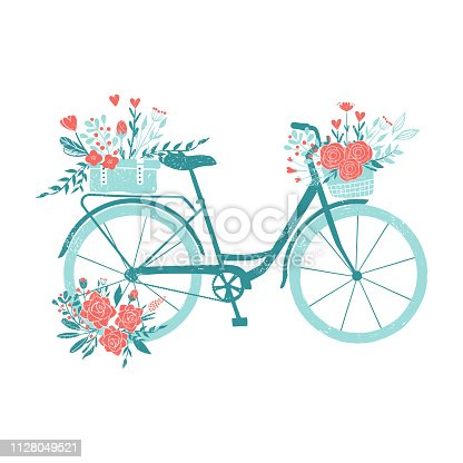 Hand drawn bicycle, romantic bike with flowers, retro bike for breakfast with bouquets.