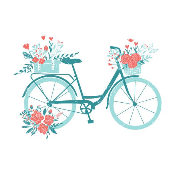 hand gezeichnet fahrrad, romantische fahrrad mit blumen, retro-fahrrad zum frühstück mit blumensträußen - fahrrad stock-grafiken, -clipart, -cartoons und -symbole