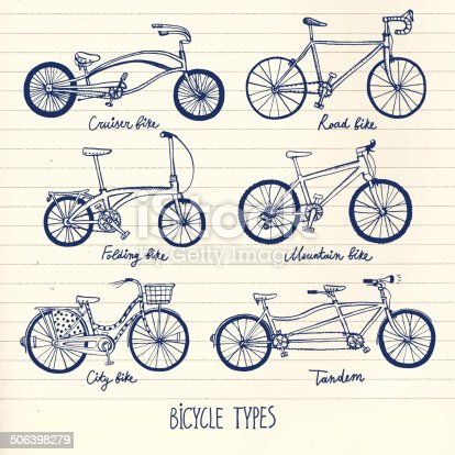 Vector hand drawn bicycle types set on paper background.