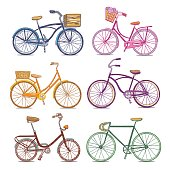 Hand drawn bicycle vector set. Vintage and sport bicycles and bikes