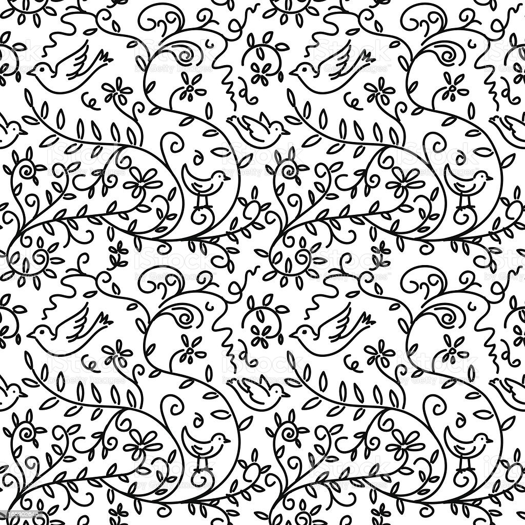 Black Flower And Vines Pattern Royalty Free Stock Image: Hand Drawn Bird And Vines Pattern Stock Vector Art & More
