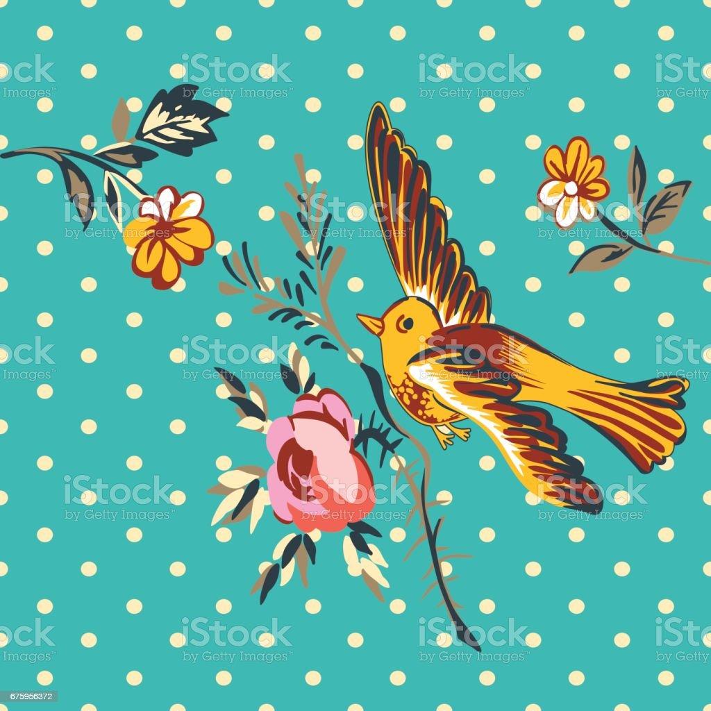 Dessin oiseau qui vole avec tropical vintage imprim de fleurs roses la main de points de - Jeux d oiseau qui vole ...
