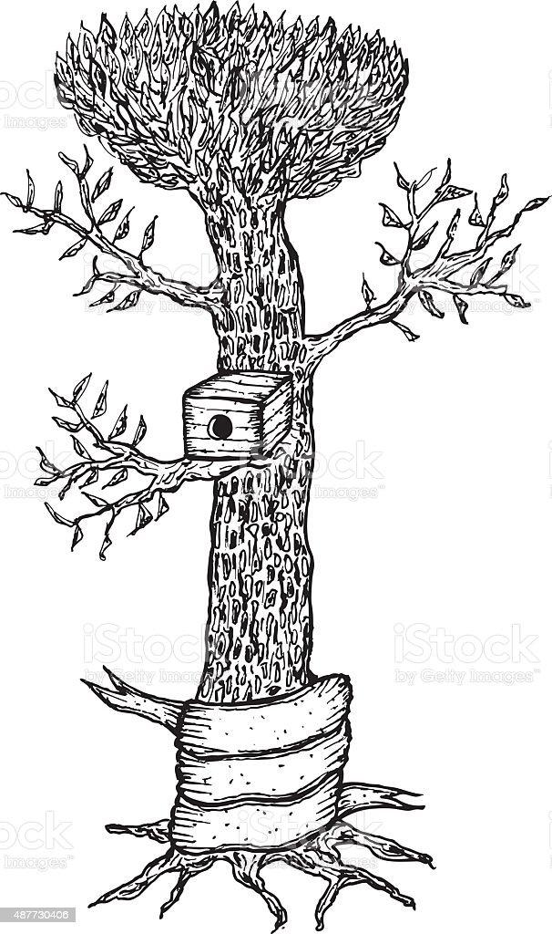 Hand drawn Vogel-Haus auf einem Baum mit leeren banner – Vektorgrafik